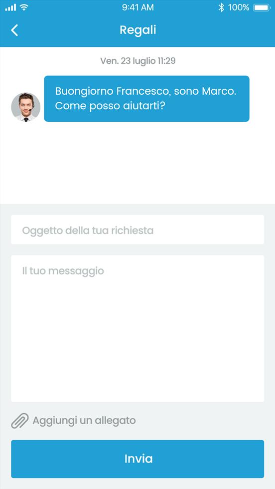 Usa la chat o il nostro call center entrambi integrati alla piattaforma.