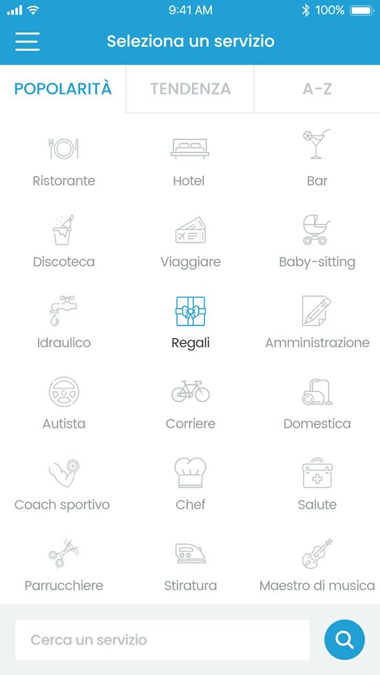 Più di cinquanta categorie di servizi offerti (ristoranti, hotel, idraulico, babysitter...).