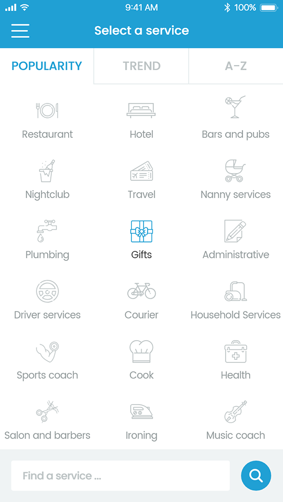 Uit meer dan vijftig vooraf gedefinieerde diensten (restaurants, hotels, loodgieters, nannydiensten, ...)
